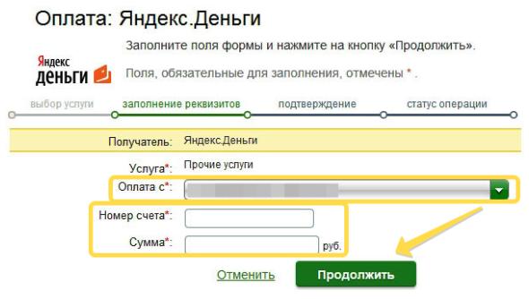 Оплата Яндекс денег