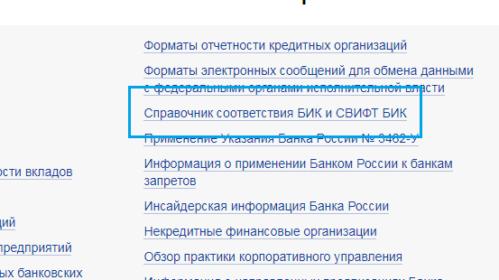Справочник БИК центробанка